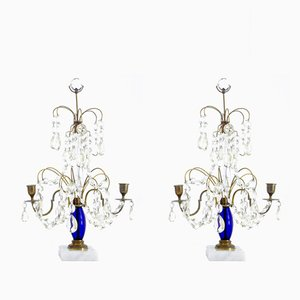 Mid-Century Brass & Cut Glass Candelabra, Set of 2