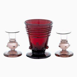 Vintage Kerzenhalter und Vase aus Glas von Monica Bratt