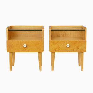 Vintage Birch Bedside Tables, Set of 2