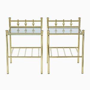 Vintage Brass & Glass Side Tables, Set of 2