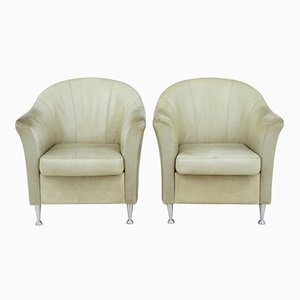 Mid-Century Leather Lounge Chairs, Set of 2