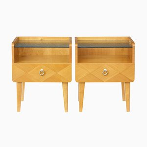 Tables de Chevet Scandinaves en Orme, 1960s, Set de 2