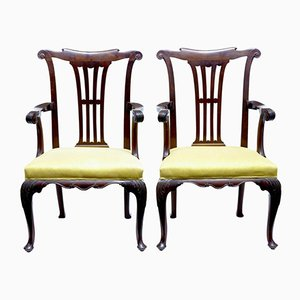 Antique Chippendale Mahogany Armchairs, Set of 2