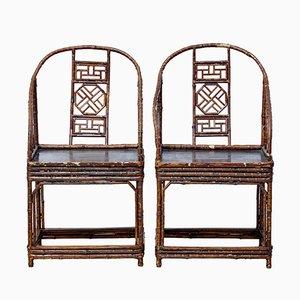 Antike chinesische Stühle aus Bambus, 2er Set