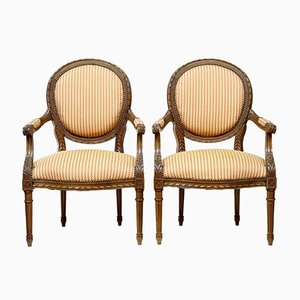 Antique French Carved Walnut Open Armchairs, Set of 2