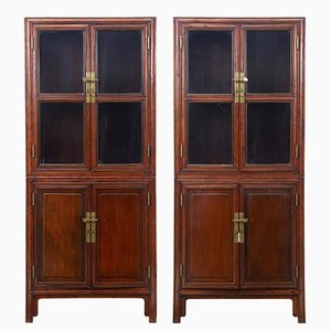 Antique Chinese Hardwood Cabinets, Set of 2