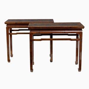 Antike chinesische Beistelltische aus Hartholz, 2er Set