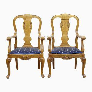 Antique Chippendale Oak Armchairs, Set of 2