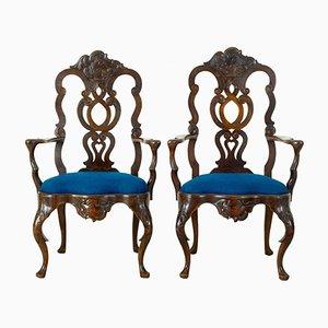 Antike Armlehnstühle aus Nussholz, 2er Set