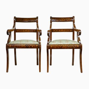 Antique Dutch Walnut Marquetry Armchairs, Set of 2