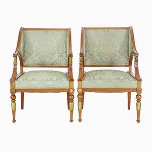 Antike Empire Revival Armlehnstühle aus Nussholz, 2er Set