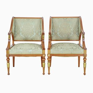 Antique Empire Revival Walnut Armchairs, Set of 2