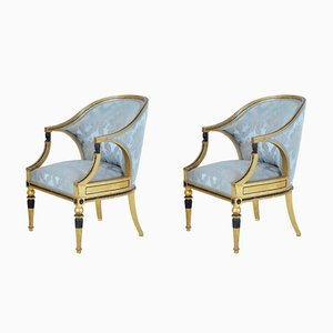 Antique Gothenburg Gilt Armchairs, Set of 2