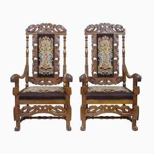 Antique Oak Throne Armchairs, Set of 2