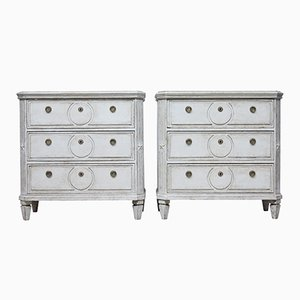 Antique Painted Swedish Chest of Drawers, Set of 2