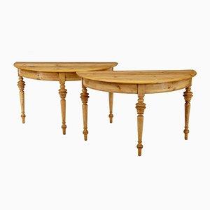 Antike halbrunde Konsolentische aus Pinienholz, 2er Set