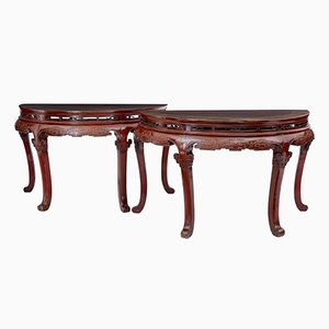 Antique 19th-Century Chinese Red Lacquered Demi Lune Tables, Set of 2