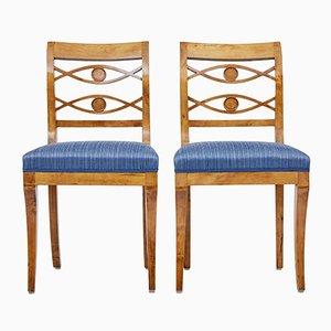 Antike schwedische Beistellstühle aus Birke, 2er Set