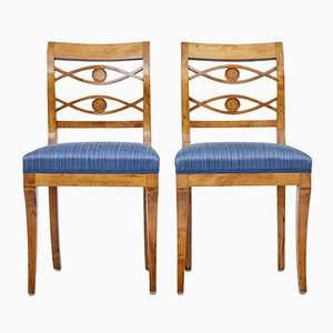 Antique Swedish Birch Side Chairs, Set of 2