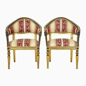 Antique Swedish Gilt & Ebonised Armchairs, Set of 2