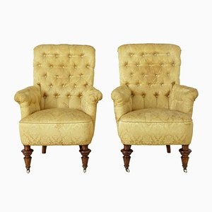 19th Century Victorian Button Back Armchairs, Set of 2