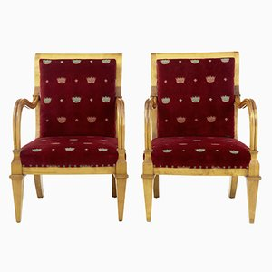 Antique Swedish Birch Armchairs, Set of 2