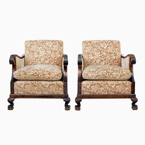 Art Deco Scandinavian Birch Armchairs, Set of 2