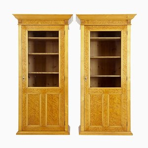 Antique Birch Glazed Cupboards, Set of 2