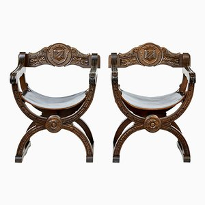 Antique Oak Carved Armchairs, Set of 2