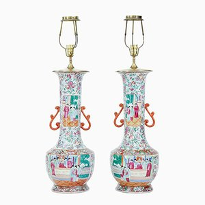 Antique Cantonese Vase Lights, Set of 2