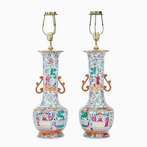 Antique Cantonese Vase Lights, Set of 2