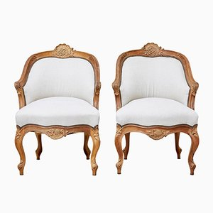 Antique French Walnut Chairs, Set of 2