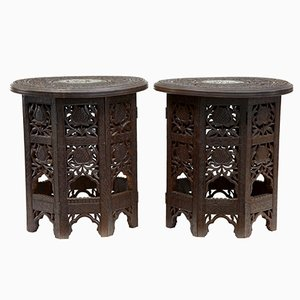 Tavolini di servizio ottagonali vintage in legno, India, set di 2