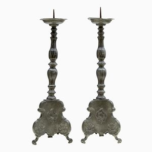 Antique Pewter Pricket Candleholders, Set of 2