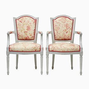 Antique Swedish Shield Back Armchairs, Set of 2