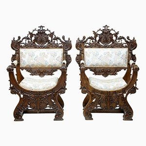 19th-Century Italian Savonarola Walnut Throne Chairs, Set of 2