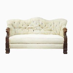 19th-Century Carved Walnut & Mahogany Sofa