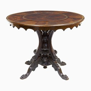 19th-Century French Flamed Mahogany Lazy Susan Side Table