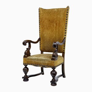 Large 19th-Century French Oak High Back Armchair