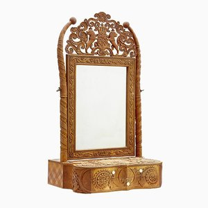 19th-Century Swedish Carved Birch Table Mirror