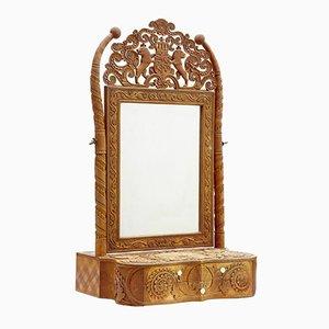 19th-Century Swedish Carved Birch Table Mirror