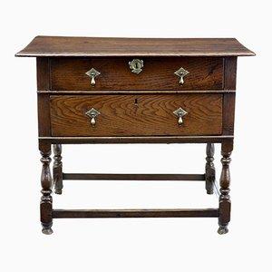 18th-Century 2-Drawer Oak Side Table