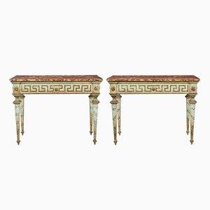 Consolas italianas pintadas del siglo XIX. Juego de 2
