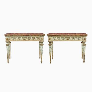 19th-Century Italian Painted Console Tables, Set of 2