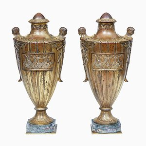 French Solid Gilt Bronze Urns, 1920s, Set of 2