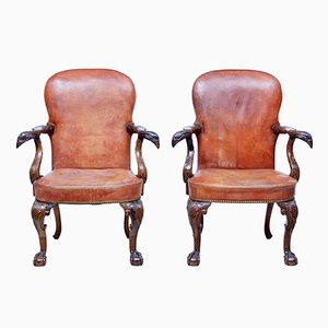 Mid-Century Carved Mahogany Armchairs, Set of 2