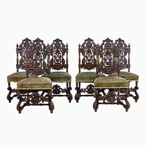 19th-Century Carved Walnut Dining Chairs, Set of 8