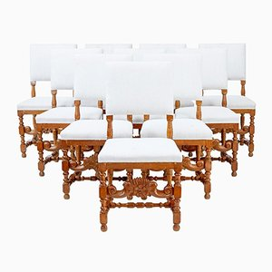 Early 20th-Century Carved Oak Dining Chairs, Set of 10