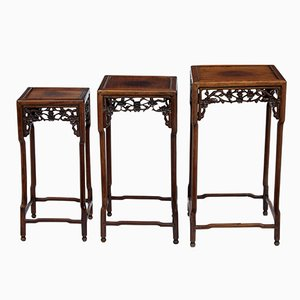 19th-Century Chinese Carved Hardwood Nesting Tables