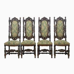 Esszimmerstühle aus geschnitzter Eiche, 19. Jh., 4er Set
